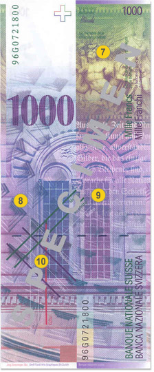 1000 Swiss francs security features - Back
