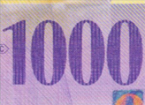 1000 Swiss francs coloured number