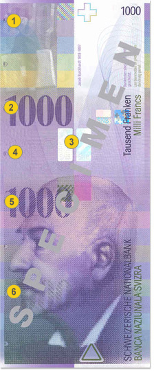 1000 Swiss francs security features - Front