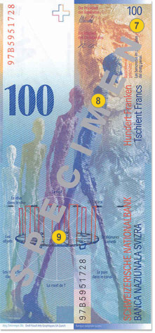 100 Swiss francs security features - Back