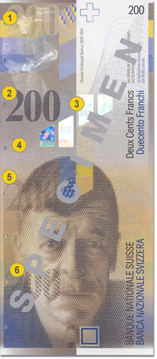 200 Swiss francs security features - Front