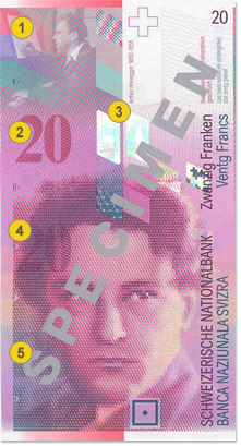 20 Swiss francs security features - Front
