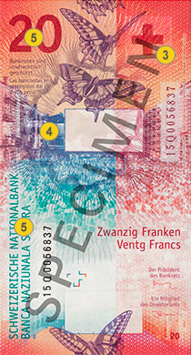 20 new Swiss francs security features - Back