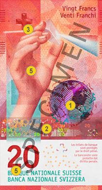 20 new Swiss francs security features - Front
