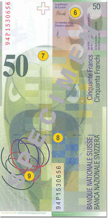50 Swiss francs security features - Back