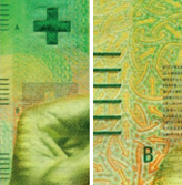 50 new Swiss francs Tactile elements