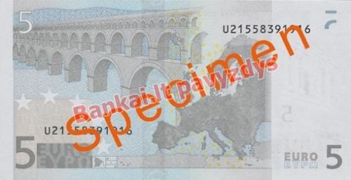 5 Eurų banknoto galinė pusė