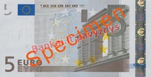 5 Eurų banknoto priekinė pusė
