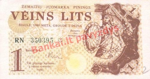 1 Lito banknoto priekinė pusė
