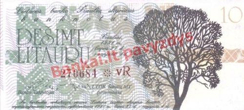 10 Litaurų banknoto priekinė pusė