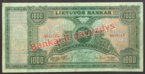 1000 Litų banknoto priekinė pusė