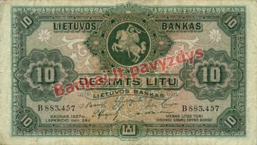 10 Litų banknoto priekinė pusė