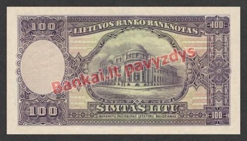 100 Litų banknoto galinė pusė