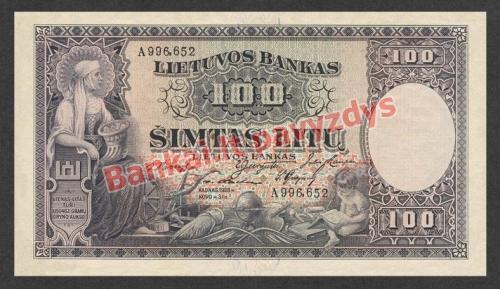 100 Litų banknoto priekinė pusė