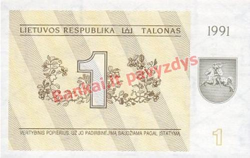 1 Talonų banknoto priekinė pusė