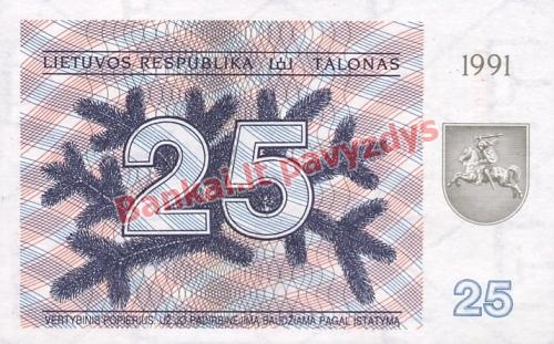 25 Talonų banknoto priekinė pusė