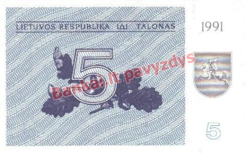 5 Talonų banknoto priekinė pusė