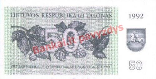50 Talonų banknoto priekinė pusė