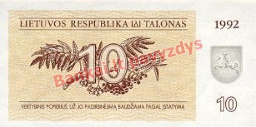 10 Talonų banknoto priekinė pusė