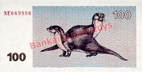 100 Talonų banknoto galinė pusė