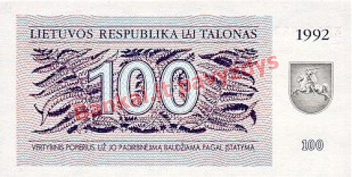 100 Talonų banknoto priekinė pusė