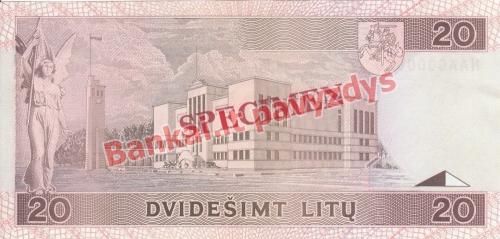 20 Litų banknoto galinė pusė