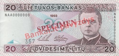 20 Litų banknoto priekinė pusė