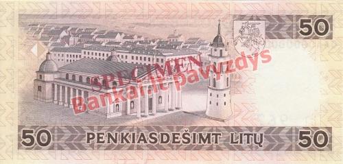 50 Litų banknoto galinė pusė
