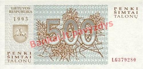 500 Talonų banknoto priekinė pusė