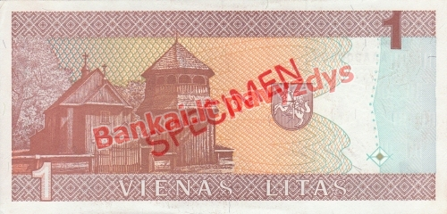 1 Lito banknoto galinė pusė
