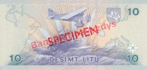10 Litų banknoto galinė pusė