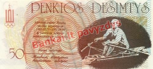 50 Litaurų banknoto galinė pusė
