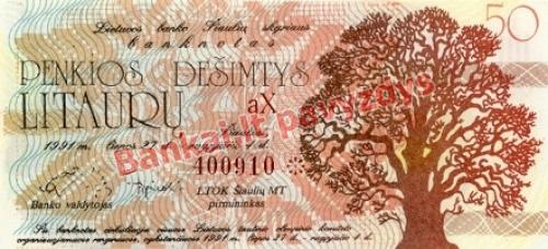 50 Litaurų banknoto priekinė pusė