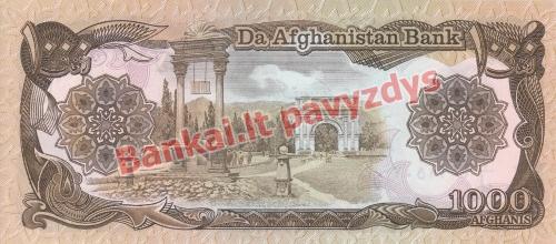 1000 Afganių banknoto galinė pusė