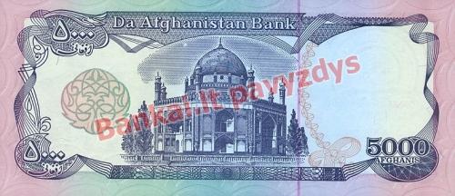 5000 Afganių banknoto galinė pusė