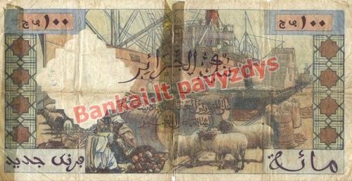 100 Naujųjų frankų banknoto galinė pusė