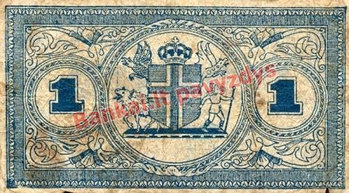 1 Kronos banknoto galinė pusė