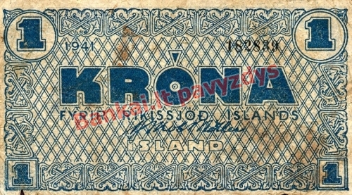 1 Kronos banknoto priekinė pusė