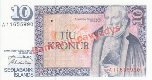 10 Kronų banknoto priekinė pusė