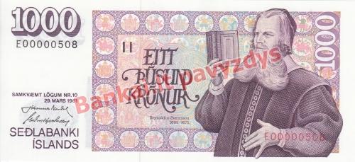 1000 Kronų banknoto priekinė pusė