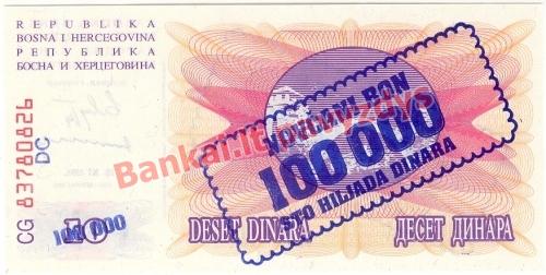 100000 Dinara banknoto galinė pusė