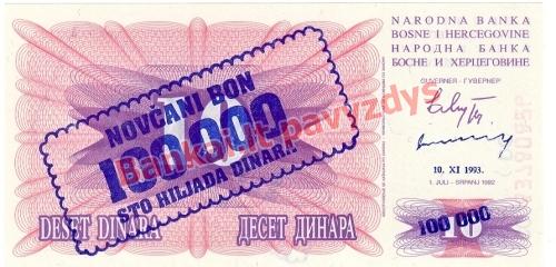 100000 Dinara banknoto priekinė pusė
