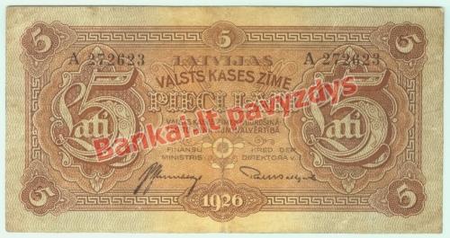 5 Latų banknoto priekinė pusė