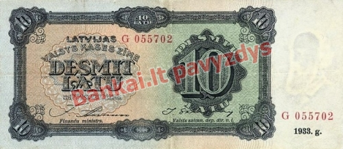 10 Latų banknoto priekinė pusė