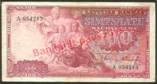 100 Latų banknoto priekinė pusė