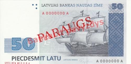 50 Latų banknoto priekinė pusė
