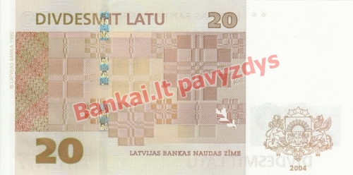 20 Latų banknoto galinė pusė