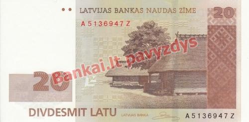 20 Latų banknoto priekinė pusė