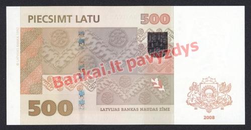 500 Latų banknoto galinė pusė
