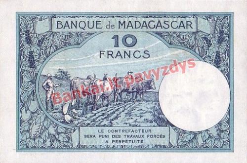 10 Frankų banknoto galinė pusė